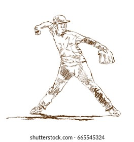 Sketch of Baseball player in vector illustration.