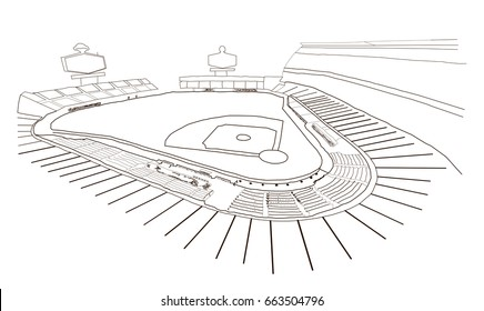 Sketch of Baseball stadium in vector illustration.