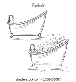 Sketch bath with tap and foam. Vector illustration in sketch style.