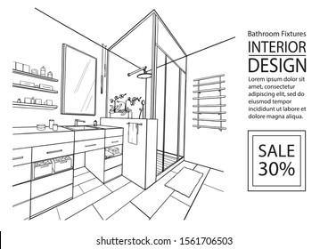 Sketch Bathroom interior. Bathroom plumbing. Hand drawing modern interior design bathroom. Angular perspective bathroom with shower cabin. Vector sketch illustration.