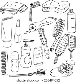 sketch of bathroom objects, hand drawn vector elements