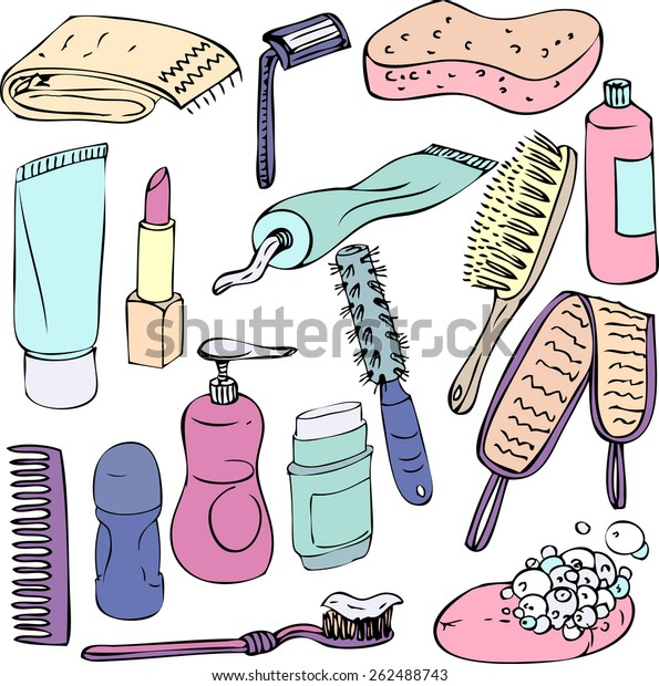 Sketch Bathroom Objects Hand Drawn Vector Stock Vector Royalty Free