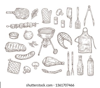 Sketch bbq. Barbeque doodle drawing grill chicken sauce barbecue grilled vegetables fried steak meat roasted sausages vintage vector