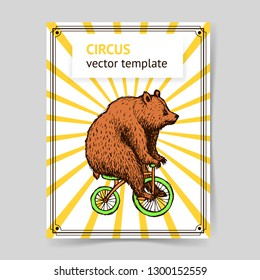 Sketch bear on a bike in vintage style, vector
