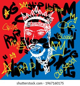 Sketch of bearded man with crown on abstract background with handwritten text. Hip-hop poster, rap print. Drawn by hand. Vector illustration.