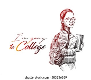Sketch of Beautiful College Student Holding book on Isolated white Background