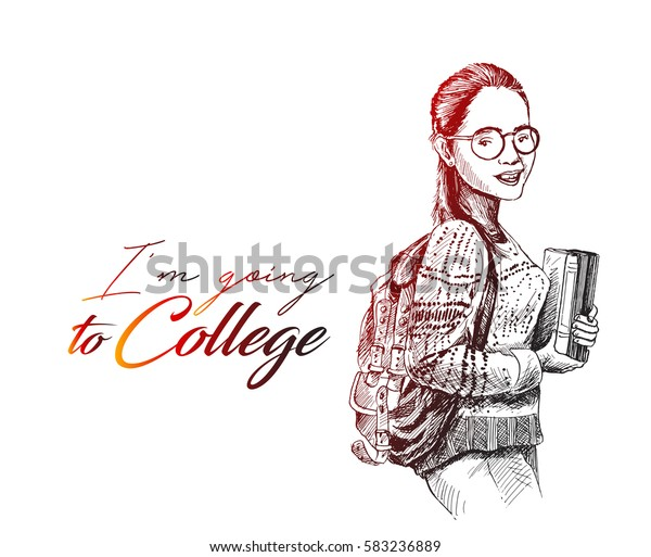 Sketch Beautiful College Student Holding Book Stock Vector