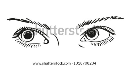 Sketch Beautiful Eyes Looking Right Vector Stock Vector Royalty