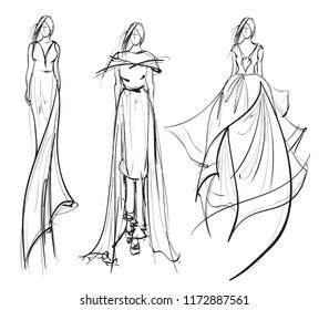Sketch. Beautiful fashion girl. Fashion bride model in a wedding dress. Vector illustration.