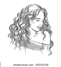 Curly Hair Line Drawing Images Stock Photos Vectors Shutterstock
