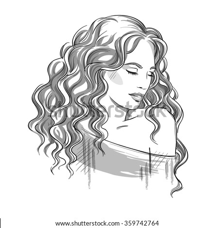 Sketch Beautiful Girl Curly Hair Black Stock Vector Royalty Free