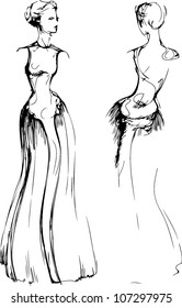 a sketch of beautiful girl is in a long beautiful evening dress