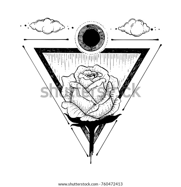 Sketch Beautiful Rose Flower Triangle On Stock Vector