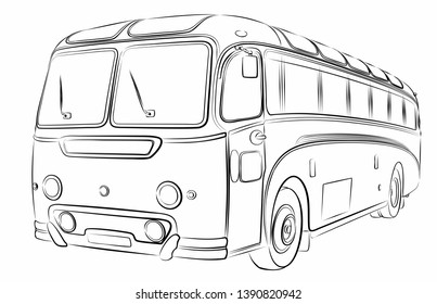 The Sketch of the big passenger old bus.
