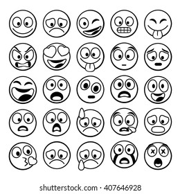 Sketch black sing Set of Emoji. Vector illustration