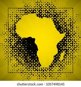 Sketch blot dotty african continent map banner. Points blotch style poster. Flat africa dot image. Dark Continent abstract print. Africa map blot background. Vector african continent blotch silhouette