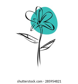 Sketch blue flower with black outlines. Vector illustration isolated on white background.