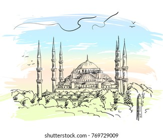 Sketch of Blue Mosque Sultanahmet in Istanbul on background of pastel color watercolor splash, Vector hand drawn illustration. December 06, 2017