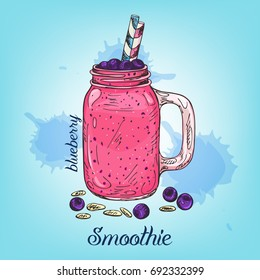 Sketch of blueberry smoothie in jar isolated on background. Vector illustration with line colourful beverage. Summer fruit coktail used for banner, poster, card, recipes or menu.