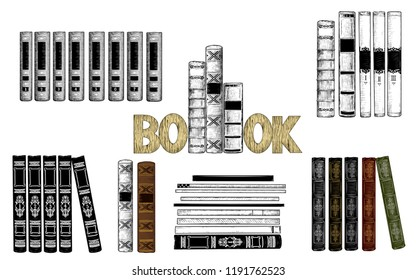 Sketch of books. Collection of various book spines.  Hand-drawn vector illustration in vintage style. Isolated objects on white background. Clipart.