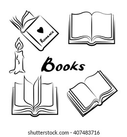 Sketch of books. Hand drawn books set. Opened and closed books. Books vector. Doodle book collection icon set. Vector illustration