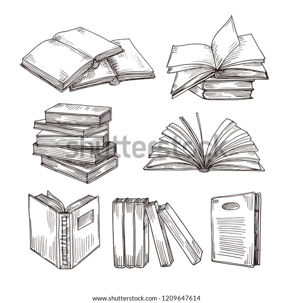 Sketch Books Ink Drawing Vintage Open Stock Vector (Royalty