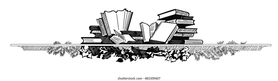 Sketch of books on shelf. Hand drawn illustration