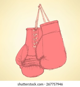 Sketch box gloves in vintage style, vector