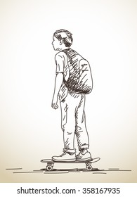 Sketch of boy on skateboard, Hand drawn illustration
