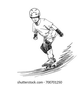 Sketch of boy skateboarder in full protection and helmet riding on skateboard in skate park, Hand drawn hatched shades vector illustration isolated on white background
