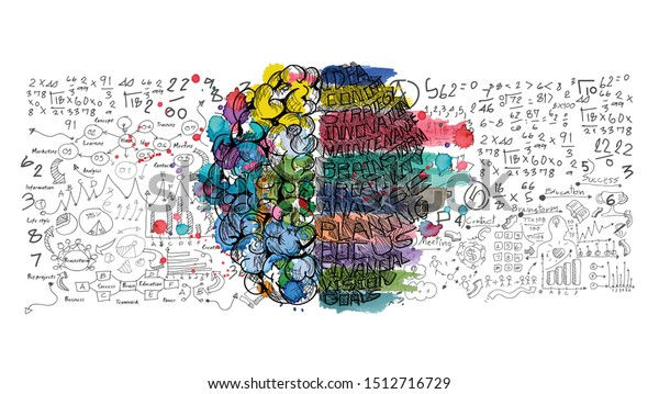 Sketch brain  Business plan  data  text various -  Watercolor stains colorful - Idea and Concept Vector illustration.