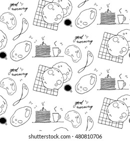 sketch breakfast seamless pattern
