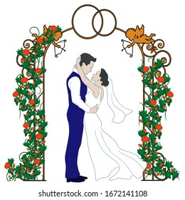 A sketch of a bride and groom in a wedding arch with flowers. Suitable for logo, book, symbol, invitation, greeting card