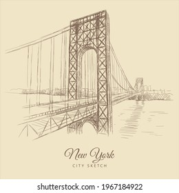 Sketch of a bridge over the river, New York, hand-drawn.