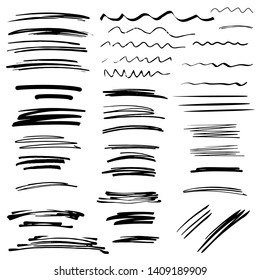 Sketch brush strokes, underline, emphasis, lines set. Design elements isolated on white background