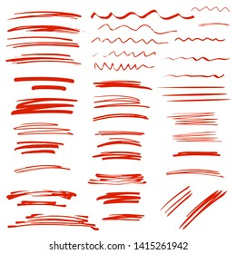 Sketch brush strokes, underline, emphasis, lines, waves set. Design elements isolated on white background
