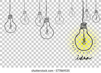 Sketch Bulb - Idea, at Transparent Effect Background