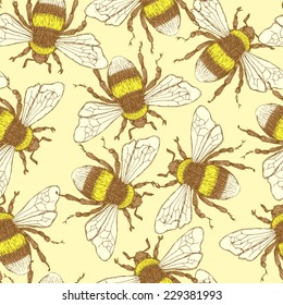Sketch bumble bee in vintage style, vector seamless pattern