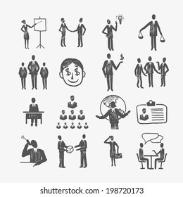 Sketch business organization management structure meeting people icon set isolated doodle vector illustration