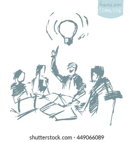 Sketch of a business people having a meeting. Brainstorming, teamwork. Concept vector illustration