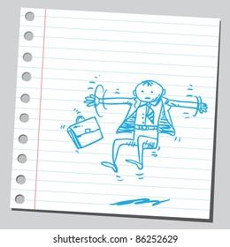 Sketch of a businessman flying
