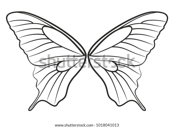Sketch Butterfly Wings Stock Vector (Royalty Free) 1018041013