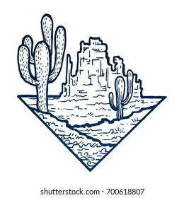 Sketch of cactus in a dry desert. Stone mount. Extreme tourism and traveling triangle badge. Exploring mountains. Outdoor activity travel symbol. Hand drawn engraving illustration on white background
