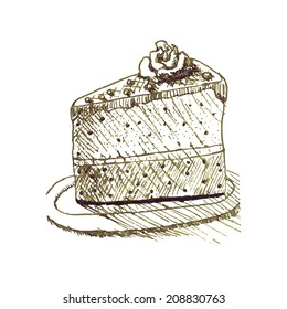 Sketch of cake with chocolate, cream and decoration. Isolated image on white background
