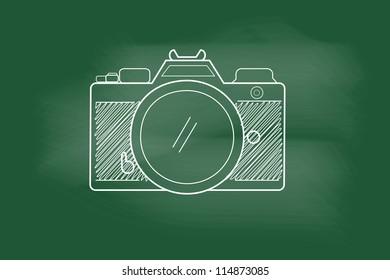 sketch of Cameras - hand-drawn on blackboard