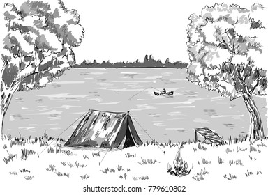 Sketch of camping tent, fire placem forest, lake, man fishing in boat.