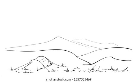 Sketch of camping tent in nature, Hand drawn linear illustration