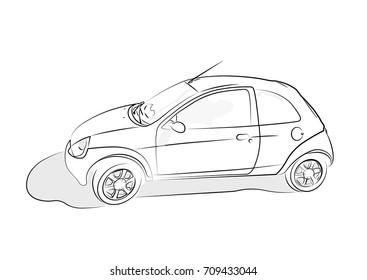 Sketch of car on white background. Vector illustration.