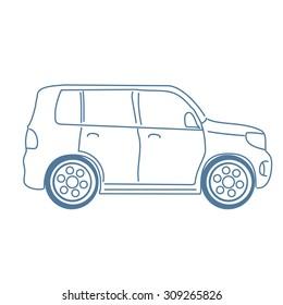 Sketch of car. Vector minivan.