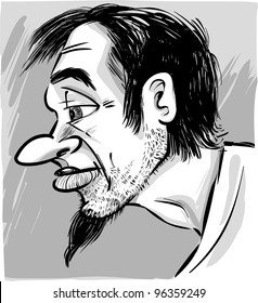sketch caricature illustration of young man with beard